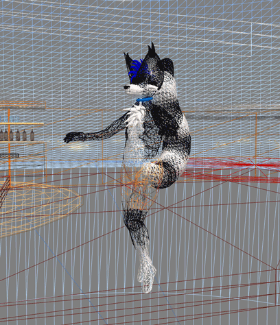 Wireframe view of Kenny, with a lemur tail