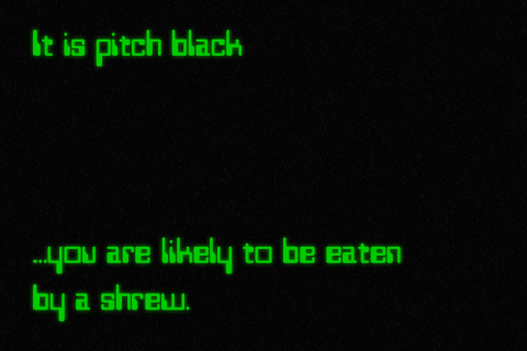 It is pitch black... you are likely to be eaten by a shrew