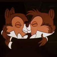 Chip and Dale kissing in Two Chips And A Miss